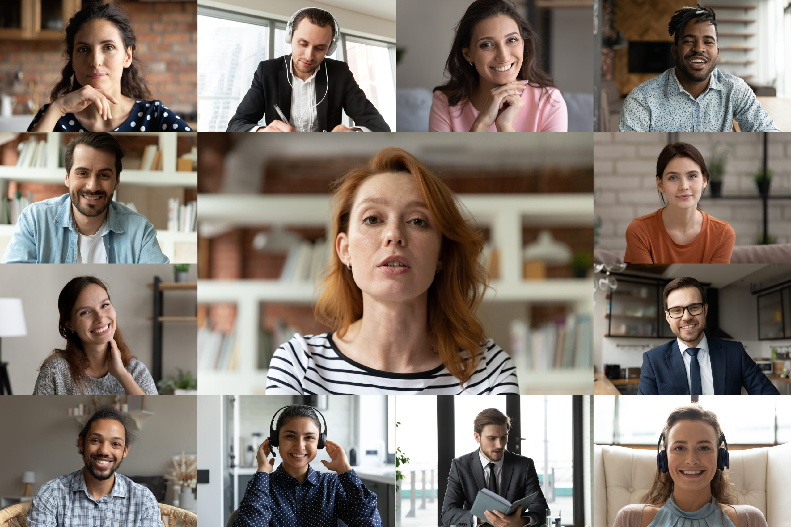 Focused,Young,Red-haired,Female,Employee,Leader,Holding,Video,Conference,Working